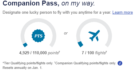 Southwest Companion Pass Tracker