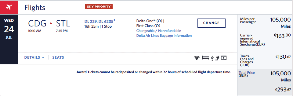 Delta Award One Way From Europe