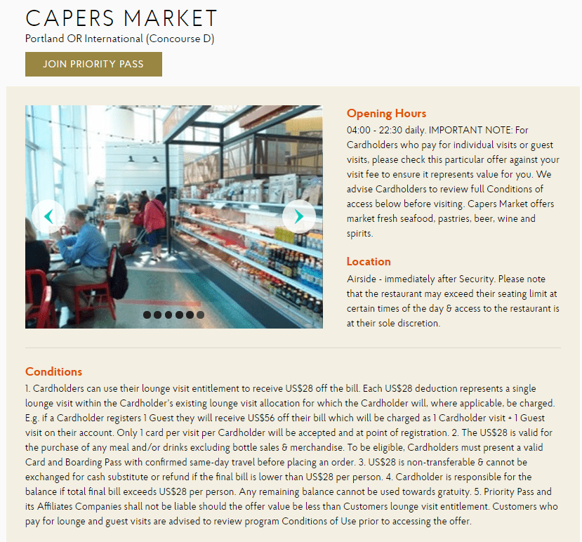 Capers Market Priority Pass
