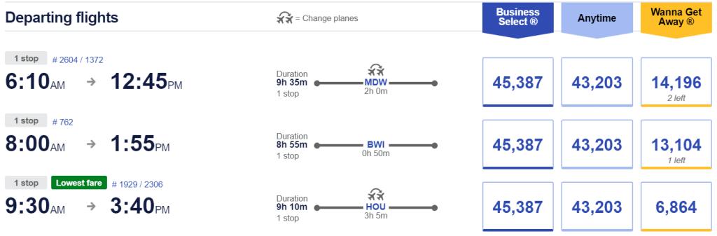 Southwest Flights Using Points