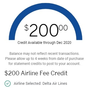 Amex Platinum Airline fee credit