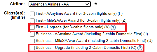 Expert Flyer Upgrade on American Airlines