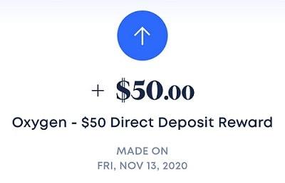 Oxygen Direct Deposit Reward