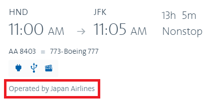 American Airlines marketed flights