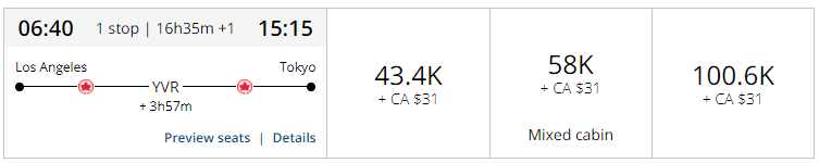 Aeroplan Air Canada Cost