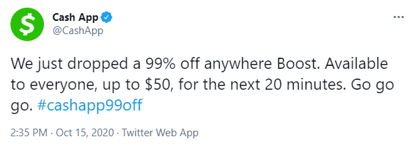 Cash App 99% off boost