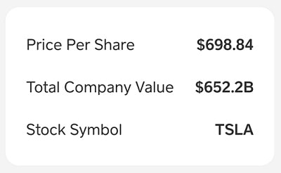 Cash App Tesla Company Information 1